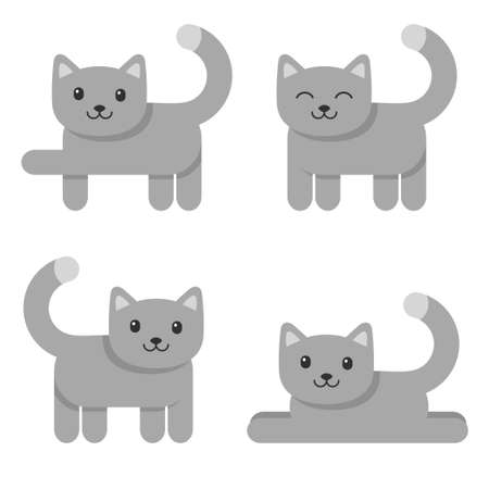Set of cute cat icons