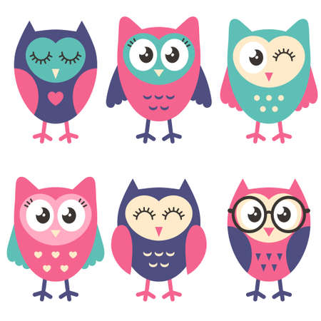 Icons of cute owls isolated on white