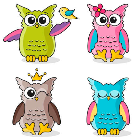 Colorful funny owls icons isolated on white Stock Illustratie