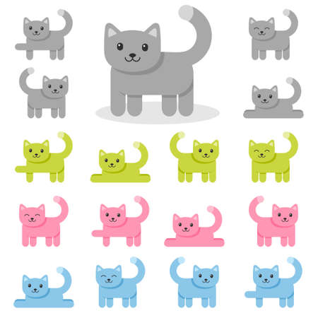 Set of colorful cat icons isolated on white