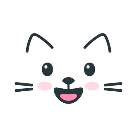 Cute happy cat face icon on white background