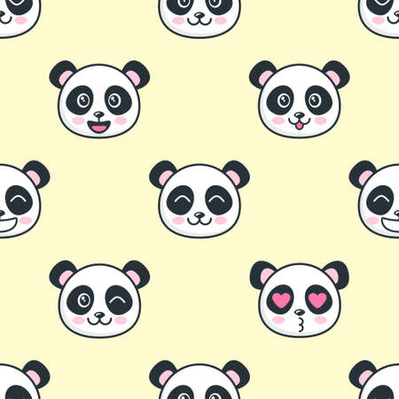 Seamless pattern with the cute panda faces