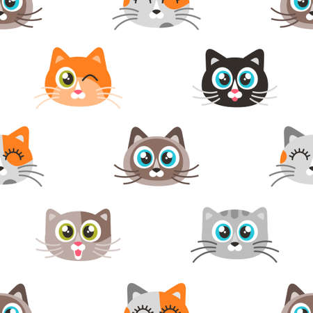 Pattern with icons of cute cat faces