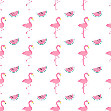 Seamless pattern with pink Flamingo birds and watermelons
