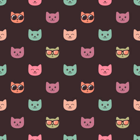 Seamless pattern with cat faces on dark background