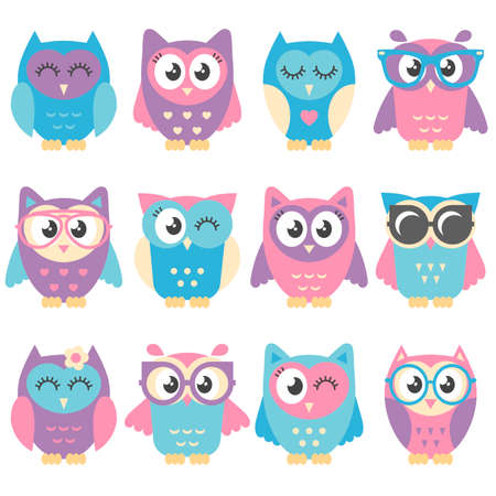 Icons of cute colorful owls isolated on white Stockfoto