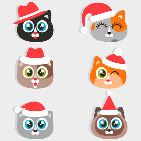 Icons of cats with Christmas hats
