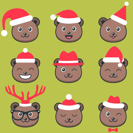 Cute Teddy bear faces with Christmas hats Stockfoto