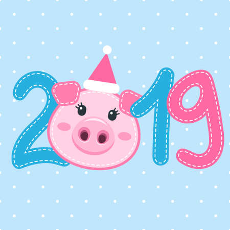 Card with the cute pig face and 2019