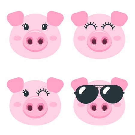 Set of cute pig faces isolated on white