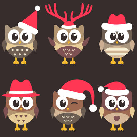 Set of cute brown owls with Christmas hats