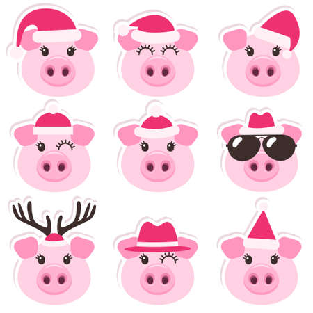 Cartoon cute pigs with Christmas Santa hats Stockfoto
