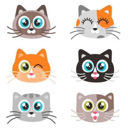 Icons of cute cat faces isolated on white