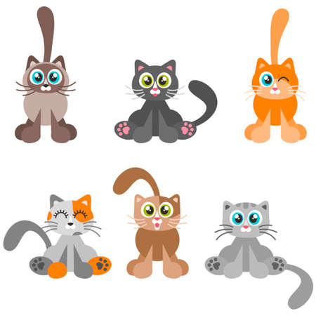 Collection of cartoon catsisolated on white background