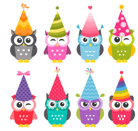 Owls with Birthday party hats Stock Illustratie
