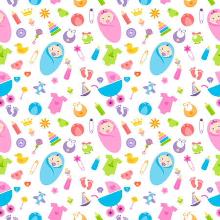 Seamless pattern with baby girl and boy elements