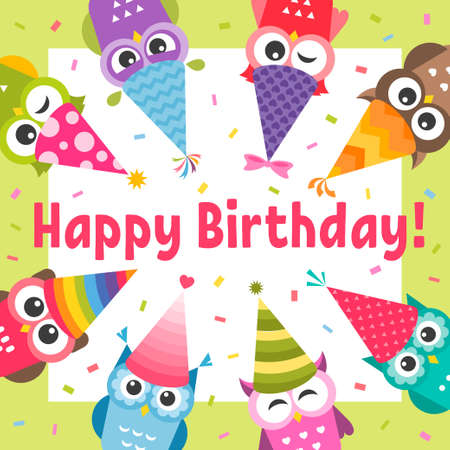 Birthday Card with cute cartoon colorful Owls