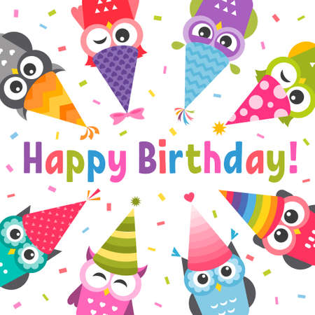 Card with Owls with Birthday party hats Stock Illustratie