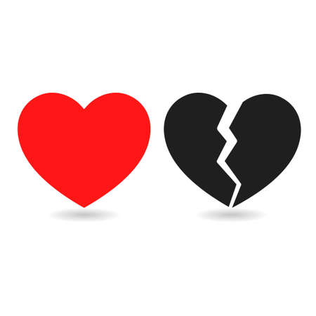 Red icon and black icon of broken heart on white background Stock Illustratie