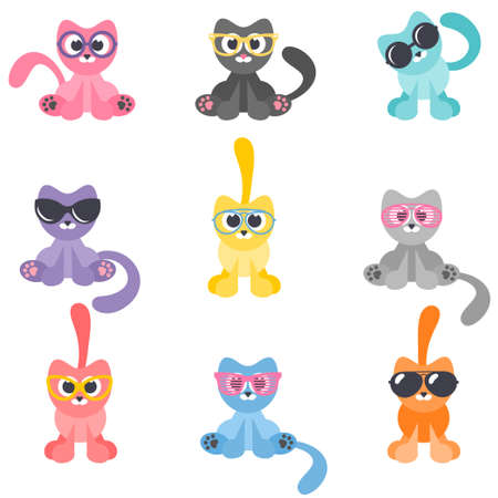 Collection of cartoon cats with glasses