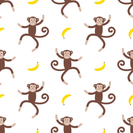 Pattern with with monkey and banana