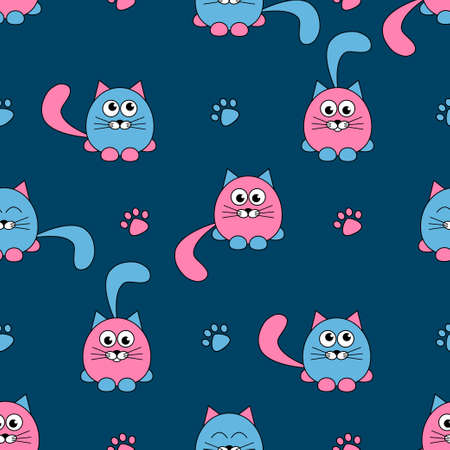 seamless pattern with cute pink and black cats and footprints