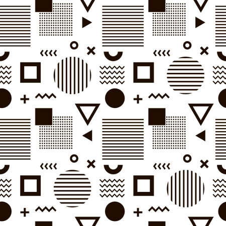 Seamless abstract pattern with black geometric shapes