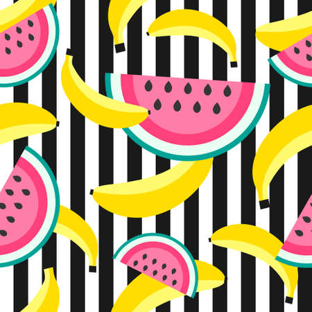 Seamless pattern with bananas and watermelon