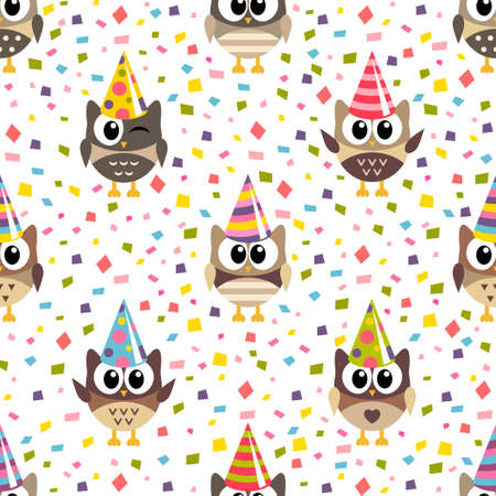 Pattern with owls and confetti