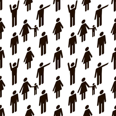 Pattern with people black icons on white background