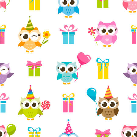 Seamless pattern with owls and gifts