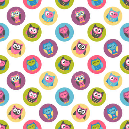Seamless pattern with colorful owls Stock Illustratie
