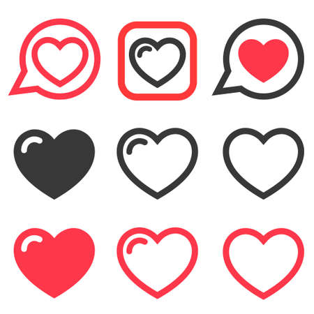 Set of red and black Heart icons Stock Illustratie
