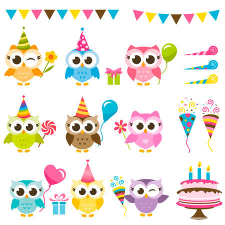 Set of owls with Birthday elements