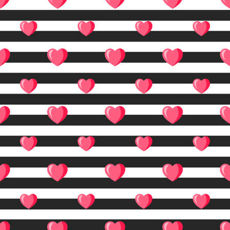 Background with red hearts, lips and black stripes