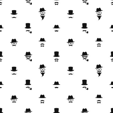 Seamless pattern with black gentleman portrait icons