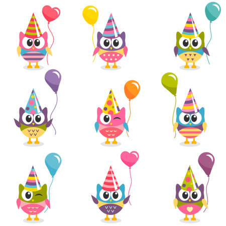 Set of colorful owls with balloons