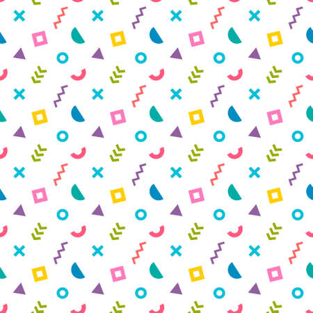 Abstract colorful seamless pattern, trendy memphis style Stock Illustratie