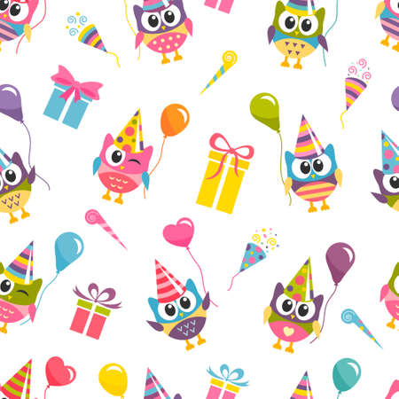 Seamless Birthday pattern with owls Stock Illustratie