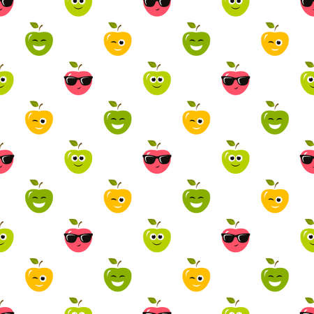seamless pattern with colorful apples with emotions