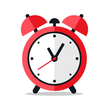 Red alarm clock icon design on white background Stock Illustratie
