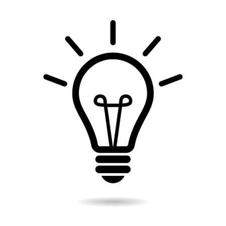 Icône de ligne ampoule isolated on white