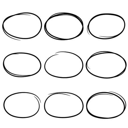 Black and drawn scribble circles. Marker elements Stock Illustratie
