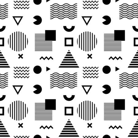 Seamless abstract pattern with black geometric shapes on white background