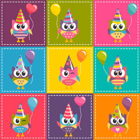 Patchwork background with colorful owls with ballons