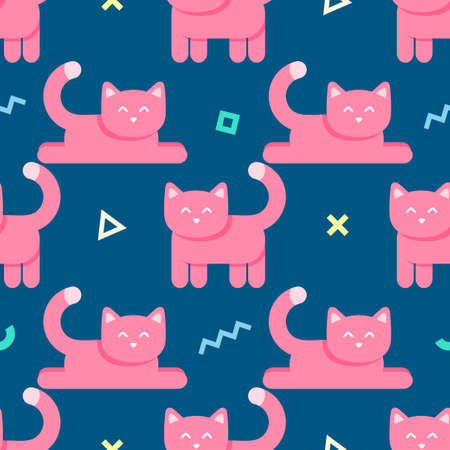 Seamless abstract pattern with pink cats and geometric shapes