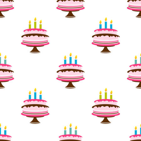 Seamless pattern with Birthday cake and candles
