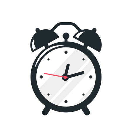 Black alarm clock icon design on white background