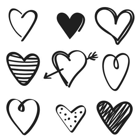 set of hand drawn hearts on white background