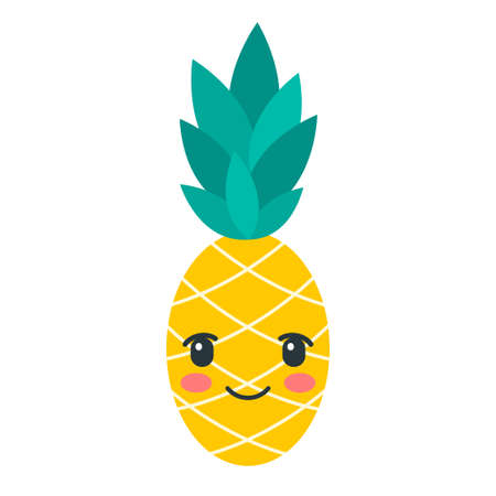 Color kawaii pineapple icon isolated on white